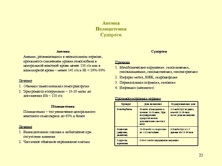 Анемия Полицитемия Судороги Анемия, развивающаяся в неонатальном периоде, проявляется снижением уровня гемоглобина в центральной