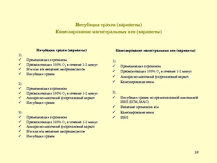 Интубация трахеи (варианты) Канюлирование магистральных вен (варианты) Интубация трахеи (варианты) 1). ü ü 2).