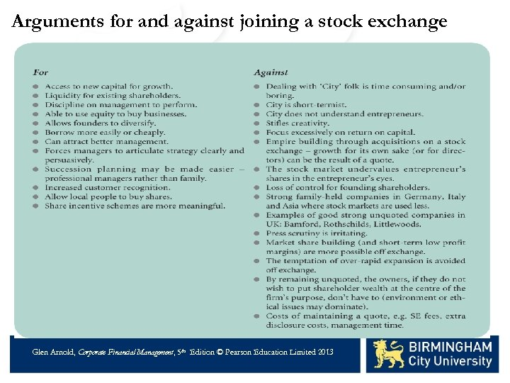 Arguments for and against joining a stock exchange Glen Arnold, Corporate Financial Management, 5