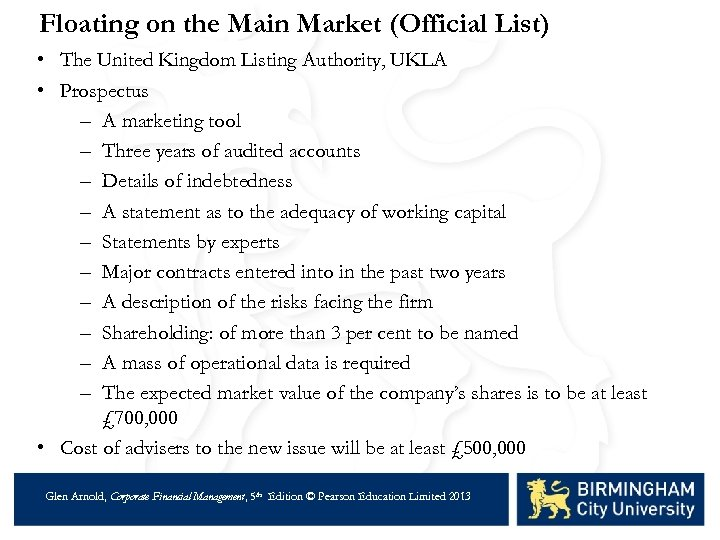 Floating on the Main Market (Official List) • The United Kingdom Listing Authority, UKLA