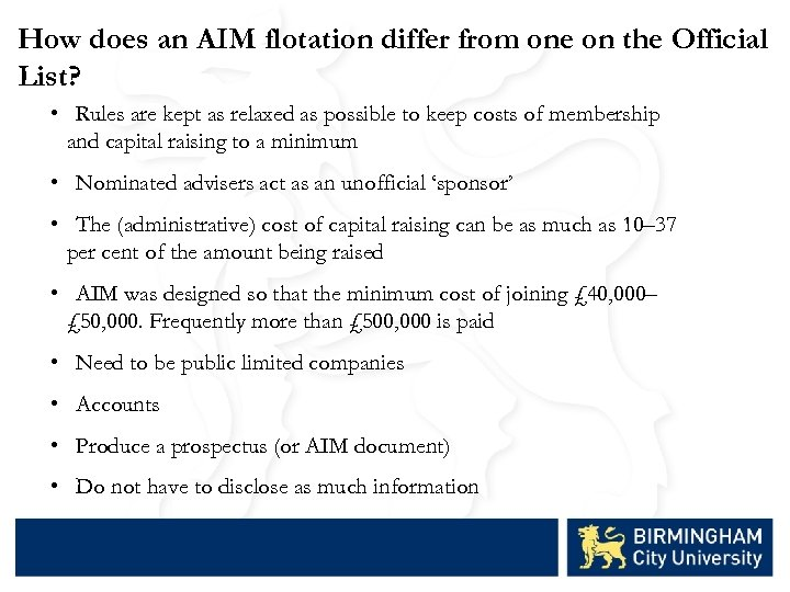 How does an AIM flotation differ from one on the Official List? • Rules