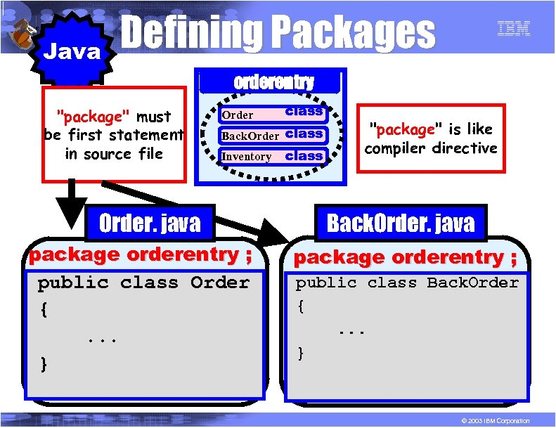 R P G Java Defining Packages orderentry