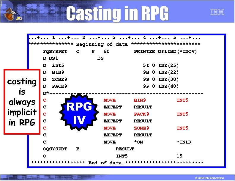 R P Casting in RPG G . . . +. . . 1. .