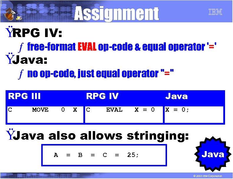 R P Assignment G Ÿ RPG IV: ƒ free-format EVAL op-code & equal operator