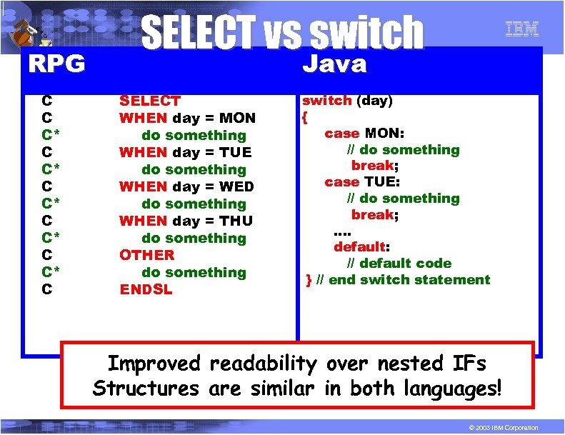 R P G RPG C C C* C C* C SELECT vs switch Java