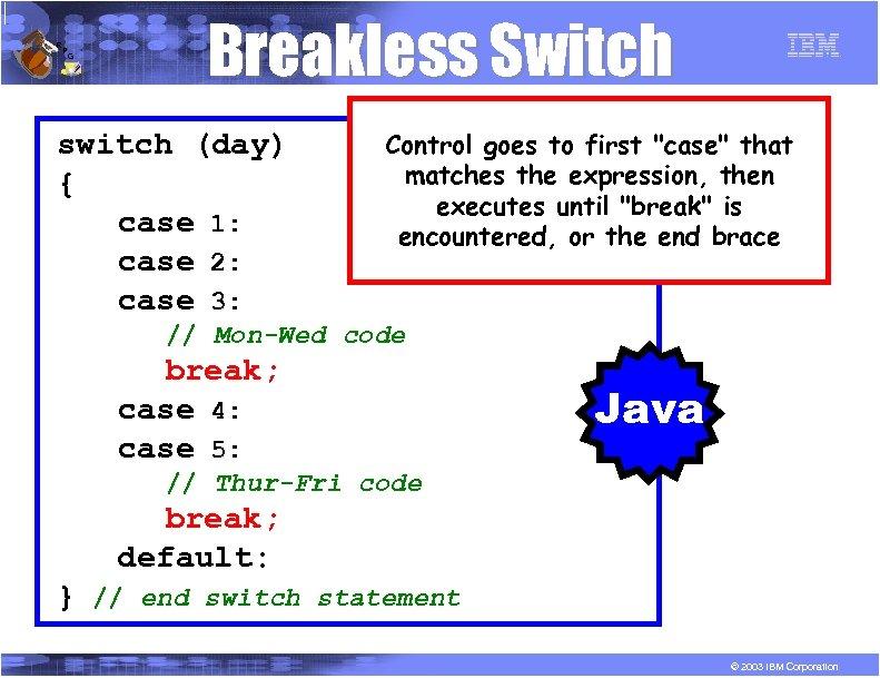 R P G Breakless Switch switch (day) { case 1: case 2: case 3: