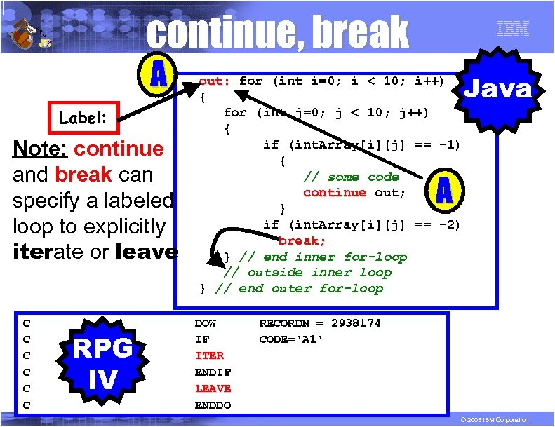 R P continue, break G A Label: Note: continue and break can specify a