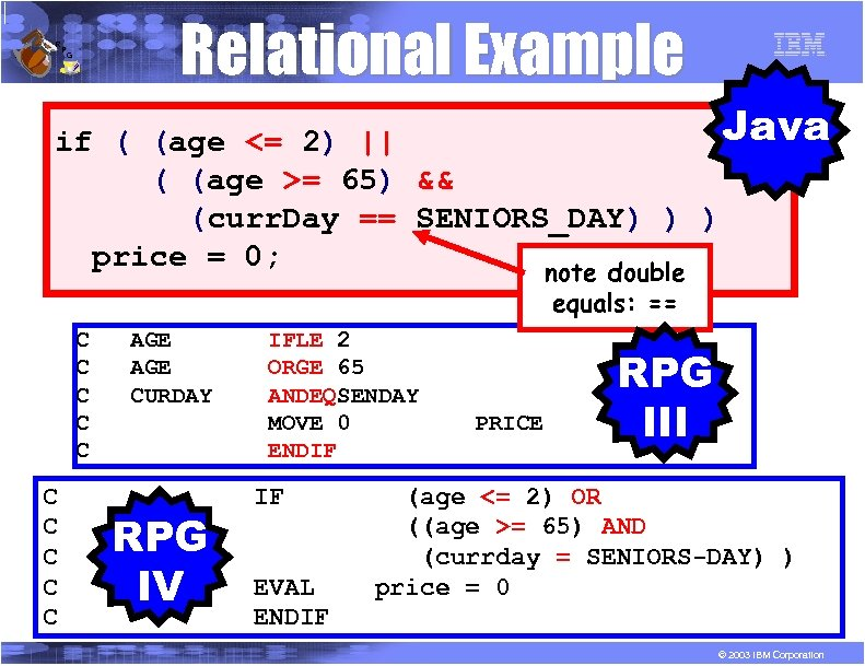 R P Relational Example G Java if ( (age <= 2) || ( (age