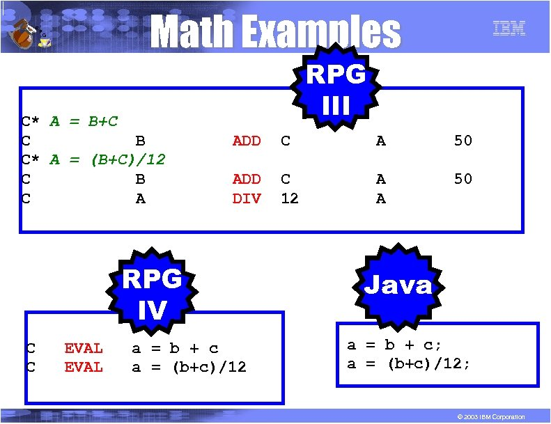 R P Math Examples G C* A = B+C C B C* A =