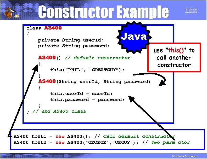 R P G Constructor Example class AS 400 { private String user. Id; private