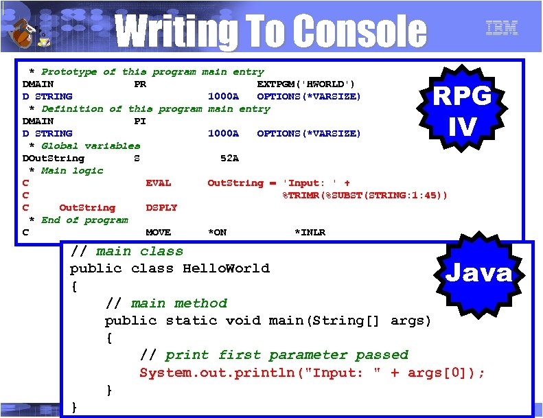 R P G Writing To Console * Prototype of this program main entry DMAIN