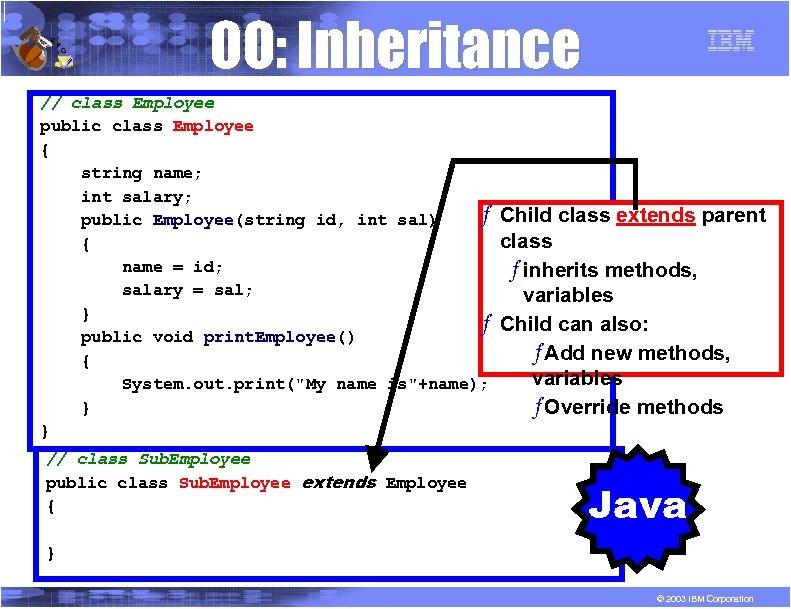 R P G OO: Inheritance // class Employee public class Employee { string name;