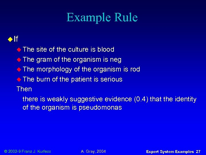Example Rule u If u The site of the culture is blood u The