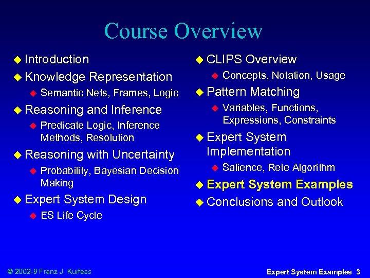 Course Overview u Introduction u Knowledge u with Uncertainty Probability, Bayesian Decision Making u