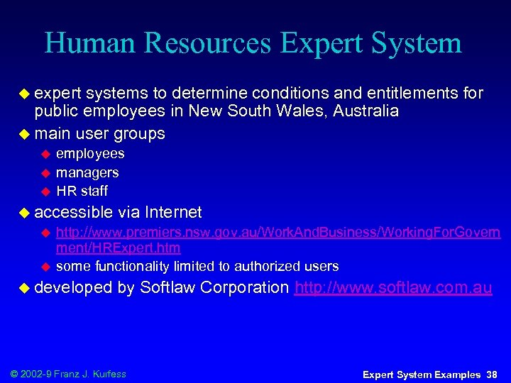 Human Resources Expert System u expert systems to determine conditions and entitlements for public