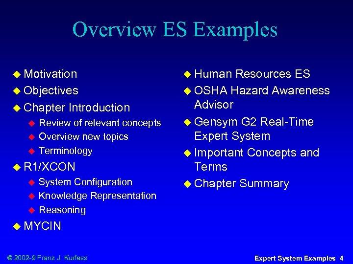 Overview ES Examples u Motivation u Objectives u Chapter u u u Introduction Review