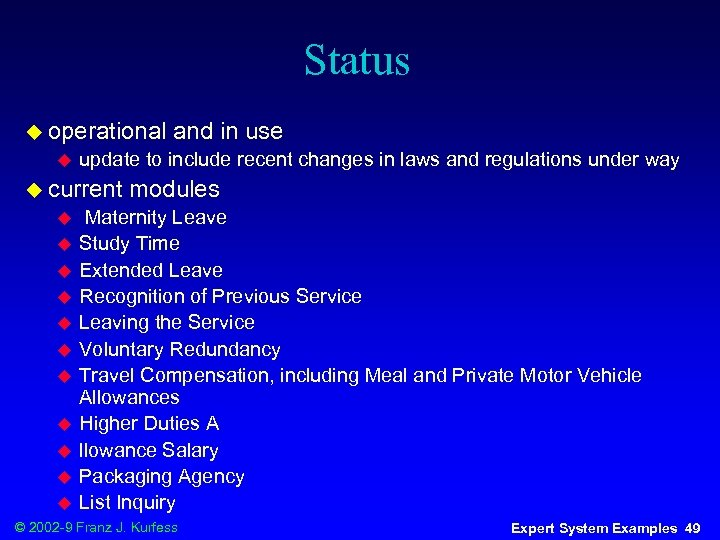 Status u operational u update to include recent changes in laws and regulations under