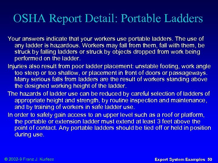 OSHA Report Detail: Portable Ladders Your answers indicate that your workers use portable ladders.