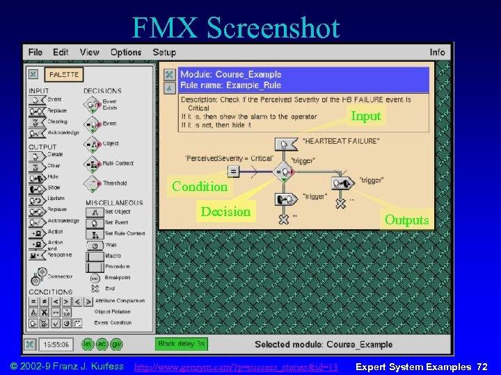 FMX Screenshot Input Condition Decision © 2002 -9 Franz J. Kurfess http: //www. gensym.
