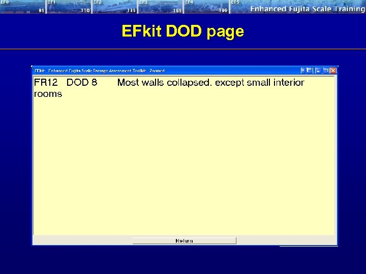 EFkit DOD page Scroll between UB and LB Expected Wind Speed EF rating