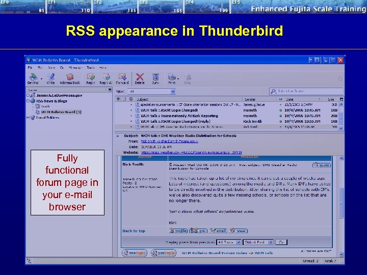 RSS appearance in Thunderbird Fully functional forum page in your e-mail browser