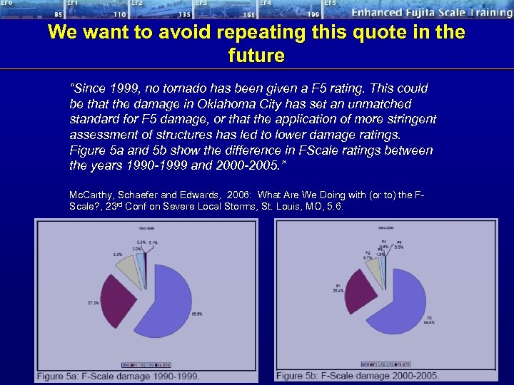 "We want to avoid repeating this quote in the future ""Since 1999, no tornado"