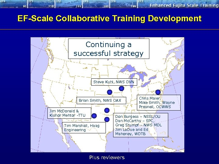 EF-Scale Collaborative Training Development Continuing a successful strategy Steve Kuhl, NWS DVN Brian Smith,