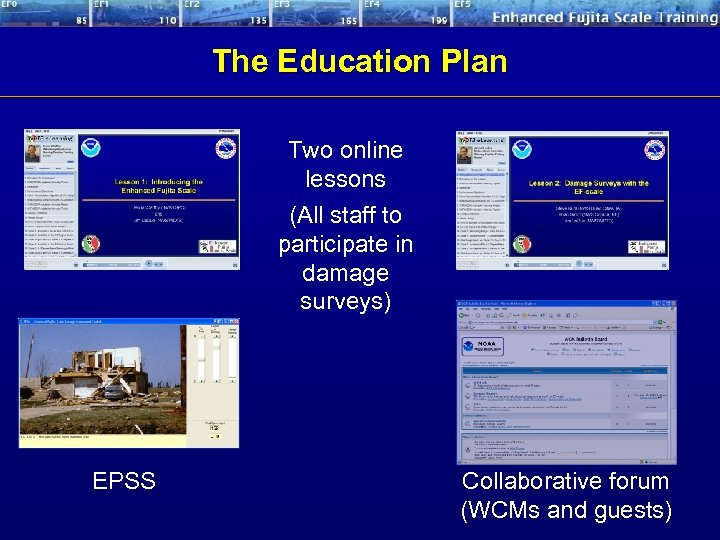 The Education Plan Two online lessons (All staff to participate in damage surveys) EPSS