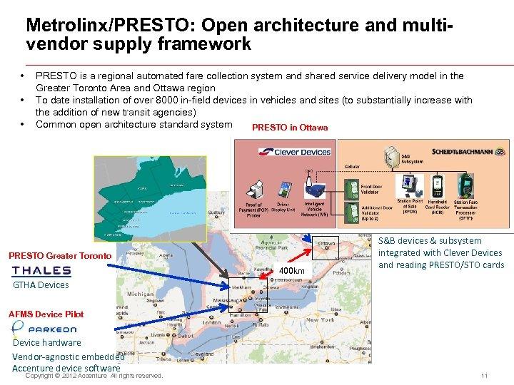 Metrolinx/PRESTO: Open architecture and multivendor supply framework • • • PRESTO is a regional