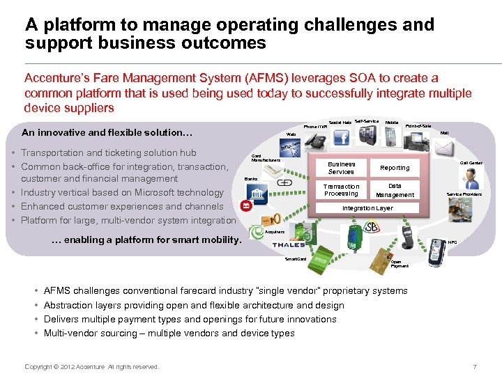 A platform to manage operating challenges and support business outcomes Accenture's Fare Management System