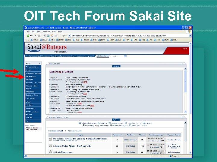 OIT Tech Forum Sakai Site