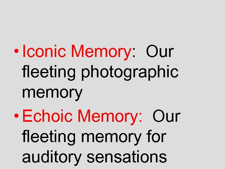 • Iconic Memory: Our fleeting photographic memory • Echoic Memory: Our fleeting memory