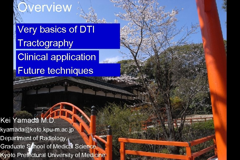 Overview Very basics of DTI Tractography Clinical application Future techniques Kei Yamada M. D.