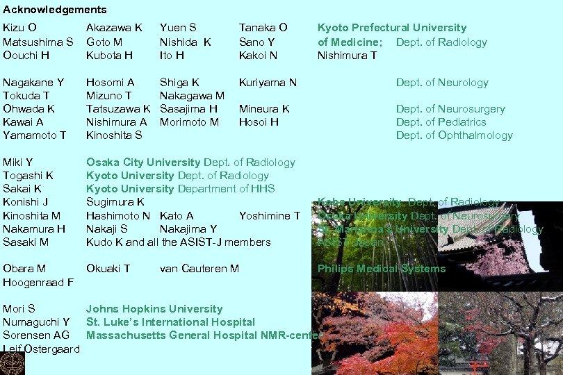 Acknowledgements Kizu O Matsushima S Oouchi H Akazawa K Goto M Kubota H Yuen