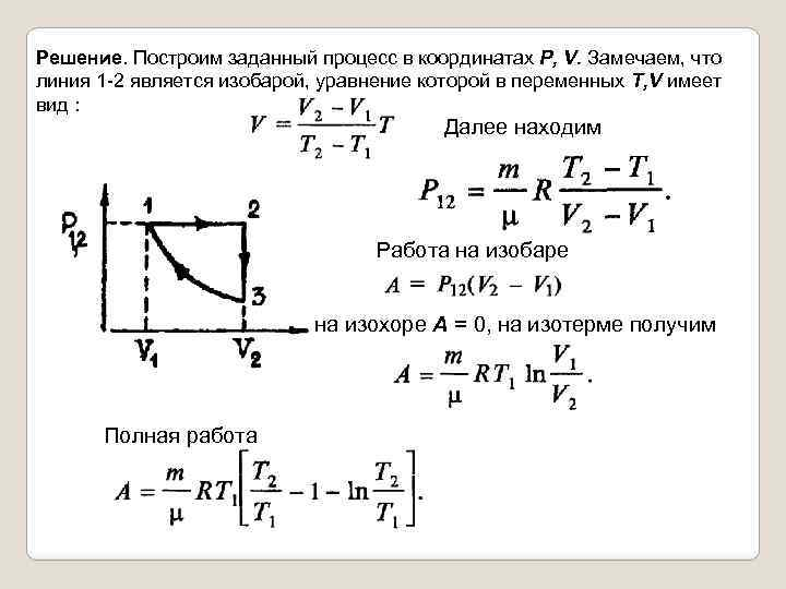 Решение. Построим заданный процесс в координатах Р, V. Замечаем, что линия 1 -2 является