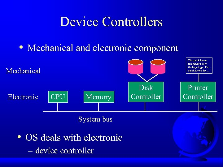 Device Controllers • Mechanical and electronic component The quick brown fox jumped over the