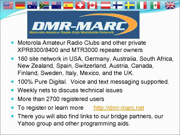 Motorola Amateur Radio Clubs and other private XPR 8300/8400 and MTR 3000 repeater