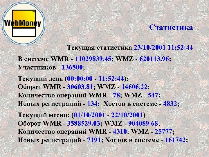 Статистика Текущая статистика 23/10/2001 11: 52: 44 В системе WMR - 11029839. 45; WMZ