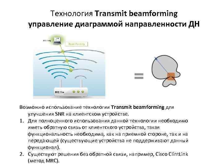 Технология Transmit beamforming управление диаграммой направленности ДН Возможно использование технологии Transmit beamforming для улучшения