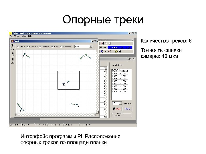 Опорные треки Количество треков: 8 Точность сшивки камеры: 40 мкм Интерфейс программы Pl. Расположение