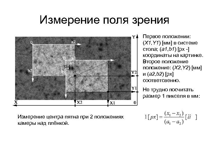 Измерение поля зрения (2. 1) Первое положении: (X 1, Y 1) [мм] в системе