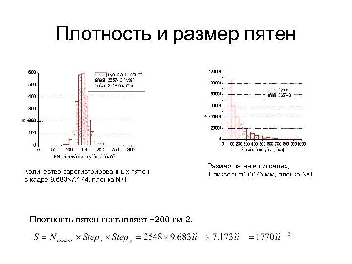 Плотность и размер пятен Количество зарегистрированных пятен в кадре 9. 683× 7. 174, пленка