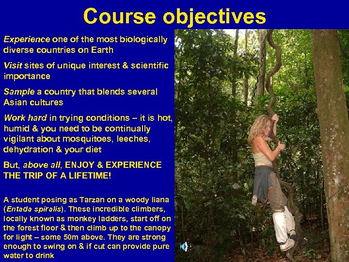 Course objectives Experience one of the most biologically diverse countries on Earth Visit sites