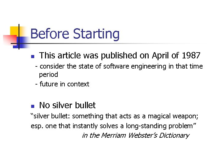 Before Starting n This article was published on April of 1987 - consider the