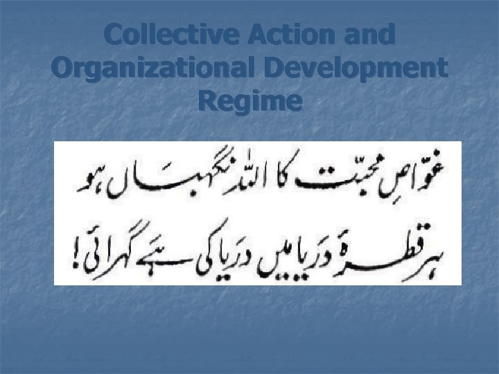Collective Action and Organizational Development Regime