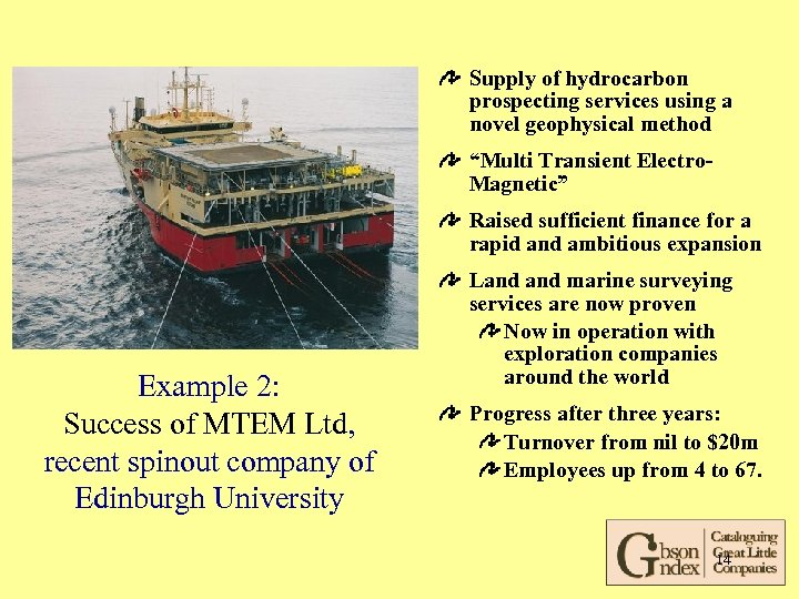 "Supply of hydrocarbon prospecting services using a novel geophysical method ""Multi Transient Electro. Magnetic"""