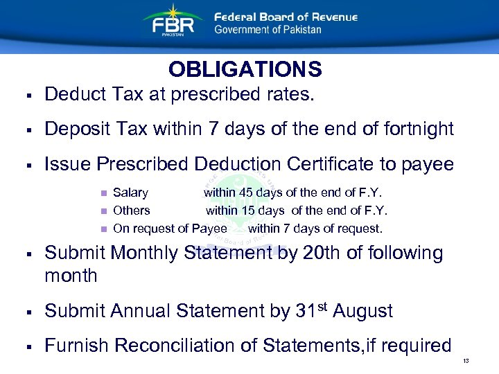 OBLIGATIONS § Deduct Tax at prescribed rates. § Deposit Tax within 7 days of