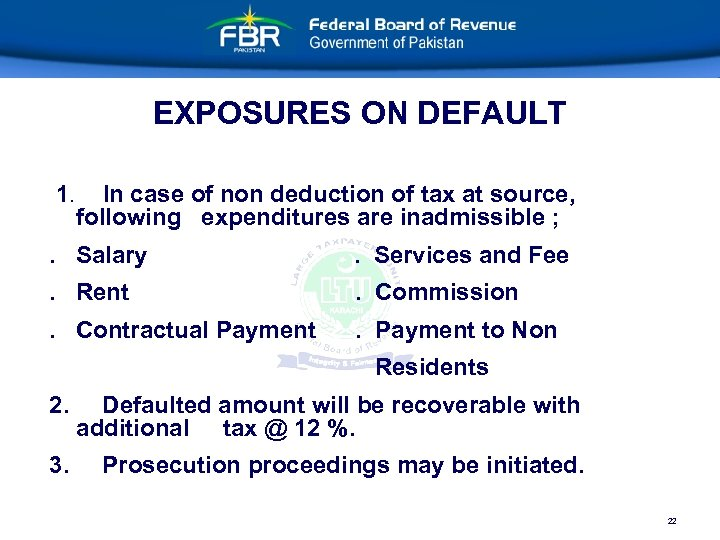 EXPOSURES ON DEFAULT 1. In case of non deduction of tax at source, following
