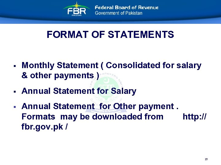 FORMAT OF STATEMENTS § Monthly Statement ( Consolidated for salary & other payments )
