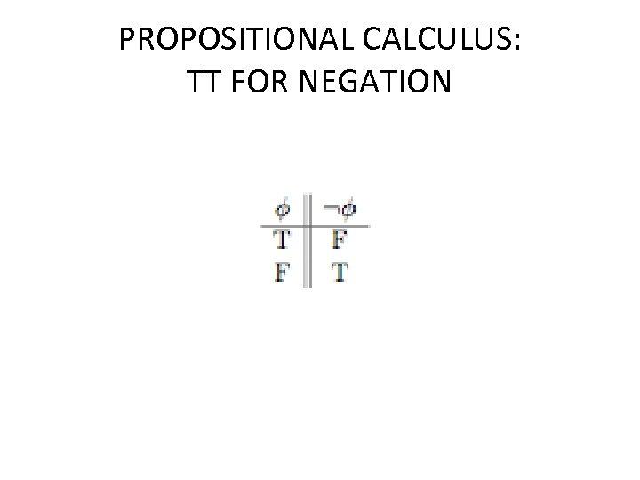 PROPOSITIONAL CALCULUS: TT FOR NEGATION